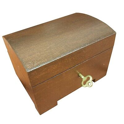 Wooden Jewellery Small Chest Lock And Key In Brown Color