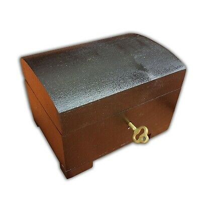Wooden Jewellery Small Chest Lock And Key In Black Color