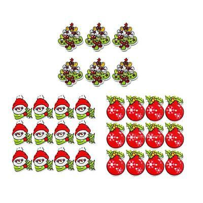50Pcs Bell/Snowman/Holly Tree DIY Wooden Buttons XMAS Decor Scrapbooking Crafts
