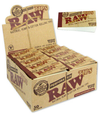 50 Pks Raw Perforated Rolling Tips Natural Hemp Wide Papers 2500 Tips Full Box