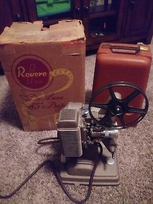 VINTAGE REVERE VARIABLE SPEED  8mm MODEL # 85 FILM PROJECTOR- WITH BOX-WORKING