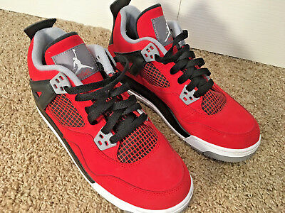 ace3acd0ed9334 NIKE AIR JORDAN 4 RETRO TORO RED BLACK SHOES 408452-603 YOUTH size 6.5  WOMENS
