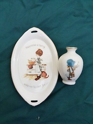 holly hobbie pin dish and small mini vase