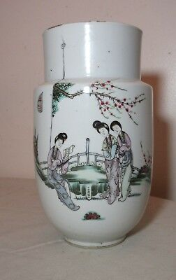rare antique Republic of China Chinese porcelain pottery famille rose vase jar '