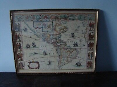 Vintage Print Map of America North and South