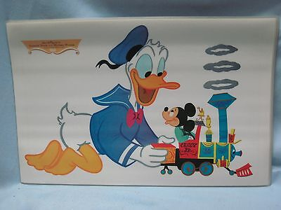 6 Vintage 1960s WALT DISNEY Placemat Donald Duck Mickey Mouse 17.5x11 TRAIN NOS
