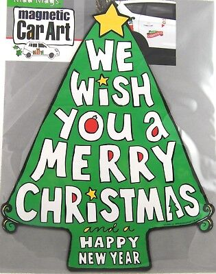 """LMH MAGNET Holiday  MERRY CHRISTMAS  Silver BELLS  Christ In Car Truck GIANT 15/"""""""