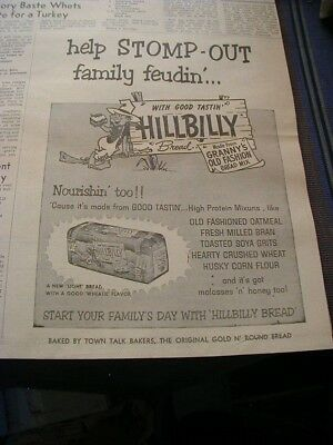 1963 Hillbilly bread newspaper ad mountain man