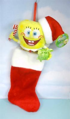 Cute SPONGEBOB Holding Gift PLUSH HEAD Xmas Stocking