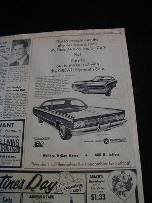 vintage 1969 chrysler plymouth newspaper ad local car dealer ad