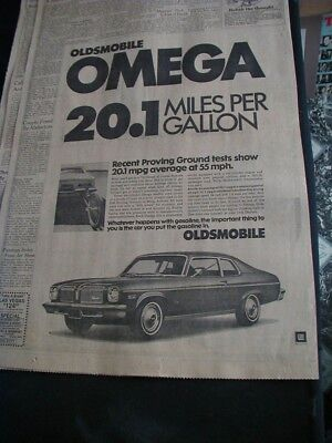 1974 oldsmobile omega newspaper ad local automobile dealer paper clipping