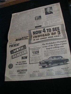 Vintage 1950 newspaper ad studebaker champion car paper clipping large ad