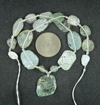 Ancient Roman Glass Beads 1 Medium Strand Aqua And Green 100 -200 Bc 909