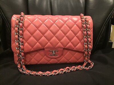 c2a542ee9691fa CHANEL PINK LAMBSKIN Jumbo Classic Double Flap Silver Hdw ...