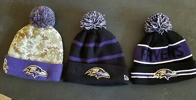 on sale 1c38a e91ae Baltimore Ravens Cuffed Beanie Knit Winter Cap Hat NFL Authentic