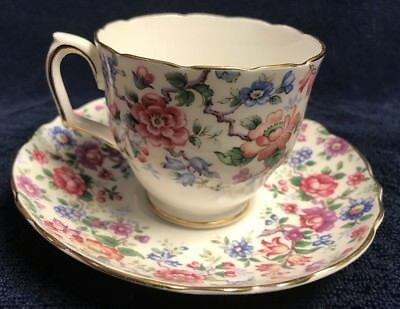 Vintage Crown Staffordshire Flowers Bone China Tea Cup & Saucer England