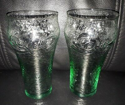 Pair Of Rare Collectable Enjoy Coke Green Frosted Dimpled Style Coca Cola Glass