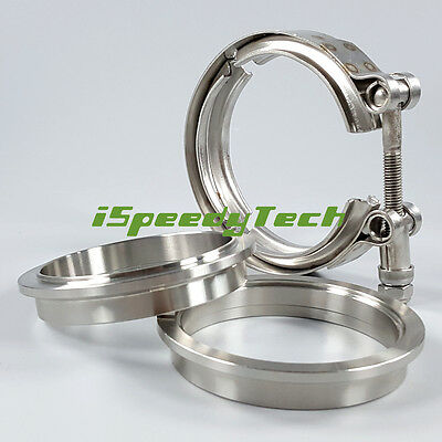 """3"""" Inch V Band Clamp 76mm Stainless Steel Turbo Downpipe Female Male Flange Kits"""
