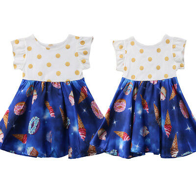 AU Kids Baby Girls Cartoon Lace Dress Floral Tulle Party Pageant Dresses Skirts