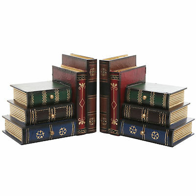 Stacked Books Wood Bookends, Desktop Organizer Drawer Units, Set of 2, Brown
