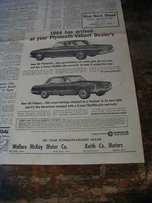1963 plymouth newspaper ad shows 1964 valiant automobiles