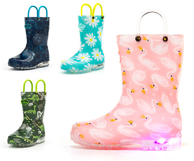 Outee Toddler Boys Girls Printed Light up Rain Boots Blue Pink Green Navy