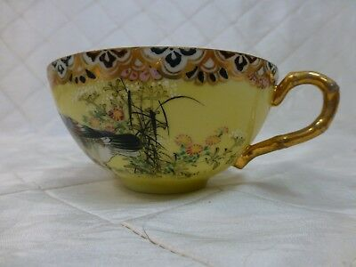 Yellow and Gold Teacup Two Birds Eggshell Porcelain 1800s Japan