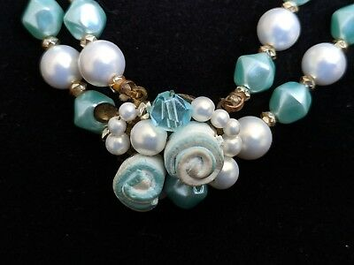 Vtg Blue White floral rose beads faux pearl beautiful clasp necklace 2 strands