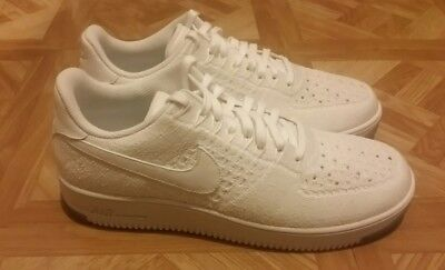 huge discount 9d75b 5398c NIKE MENS AF1 Air Force Ultra Flyknit Low White Shoes (817419 100) Sz: 10.5