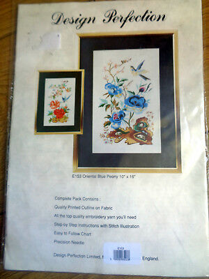 "EMBROIDERY KIT DESIGN PERFECTION  #E153 ORIENTAL BLUE PEONY  10"" x 16""  NEW"