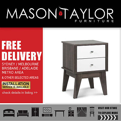 Mason Taylor Artiss Bedside Table with Drawers - White & Dark Grey