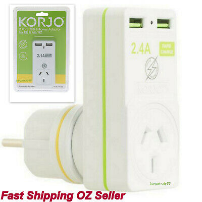 Korjo Two Port USB and Wall Plug Adaptor Charger For Europe/Bali From AU AUS/NZ