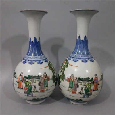 A Pair Beautiful Chinese Antique Famille Rose Porcelain Figure Two Ear Vase