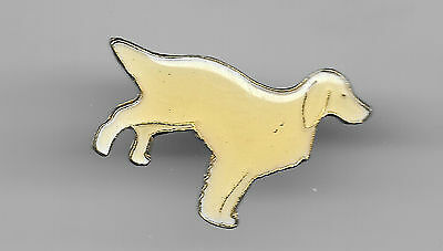 Vintage White English Setter Dog old enamel pin
