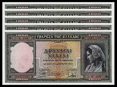 Greece 1000 Drachmai 1-1-1939 Au / Unc 5 Pcs Consecutive Lot P-110