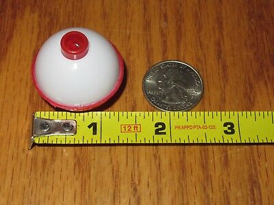 "50 1.25"" FISHING BOBBERS Round Floats Red / White SNAP ON FLOAT Bulk Pack"