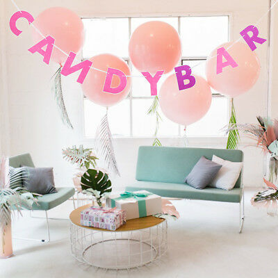 Candy Bar Letters Felt Banner Garland Wedding Engagement Party Decor Red