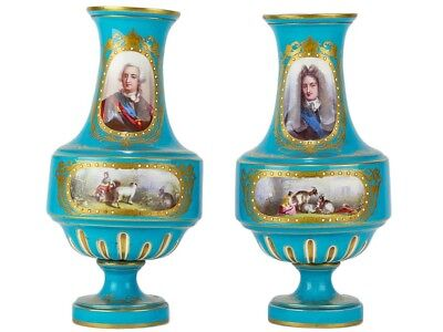c1880 Pair of Sevres Revival Vases Louis XIV and XV Portraits