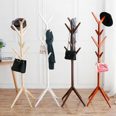 Wooden Coat Stand Rack Clothes Hanger Hat Tree White Jacket Bag Umbrella Hook