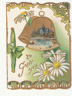 To Greet You Gold Bells Daisies Embossed Victorian Card c1880s