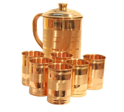 100% Pure Copper Handmade Water Jug + 6 Tumbler Set Ayurveda Health Benefits
