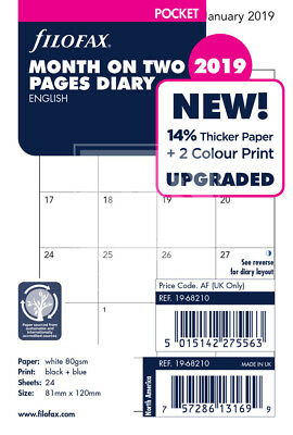 Filofax 2019 Pocket size Diary Month On Two Pages Insert Refill 19-68210