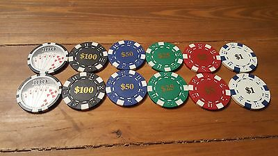 Fabulous Las Vegas Tournament/Casino Chips Set Of 12- New