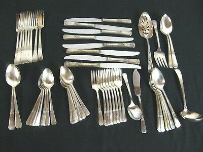 Silver Plated Rogers Oneida Sectional 1939 Rio Flower Handle Flatware Set 52 pcs