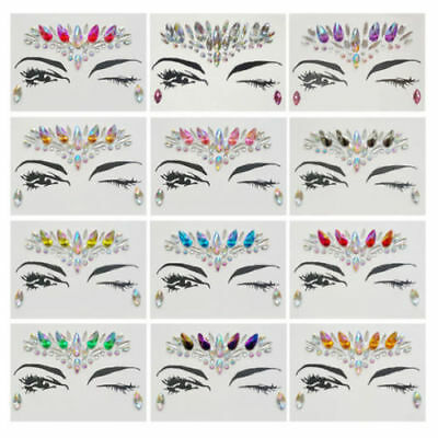 ADHESIVE FACE GEMS Glitter Jewel Tattoo Wedding Festival Rave Party Body Make Up