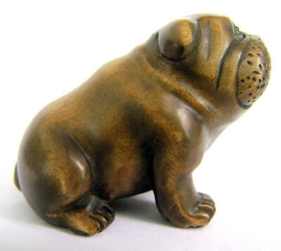 Y4020 - 2'' Nice Quanlity Hand Carved Boxwood Netsuke: Bulldog Dog
