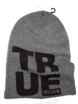 598b79dacdb TRUE RELIGION JEANS men s Grey Knit Beanie Hat Cap -  52.95