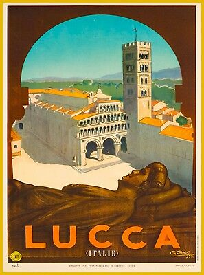 Lucca Tuscany Italy Europe Vintage Travel Advertisement Art Poster Print