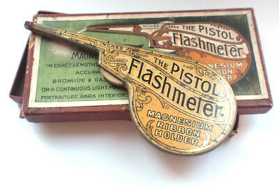 The Pistol Flashmeter Magnesium Ribbon 1900s Tin Holder Box Vintage Photography