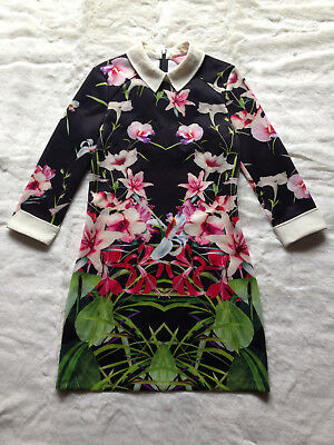 468cfc0b618 TED BAKER Mirrored Tropics black floral print collar shirt tunic day dress  1 8